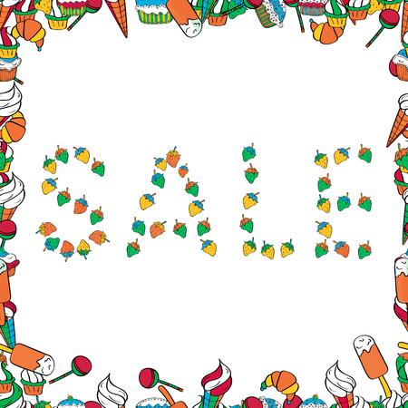 Vector. Letras. Cuadro en colores naranja, blanco y negro. Cartel moderno y agradable para publicitar sus productos. Venta de letras. Patrón sin costuras. Ilustración de vector