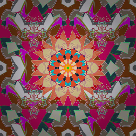 In asian textile style on neutral, beige and magenta colors. Seamless flowers pattern. Vector illustration.