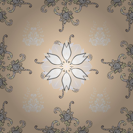 Blossoming background for printing on fabric, sketch and paper. Cute seamless pattern with a small flower in a vintage style. Bright bouquets on a fashion grunge background. Vector illustration. Çizim