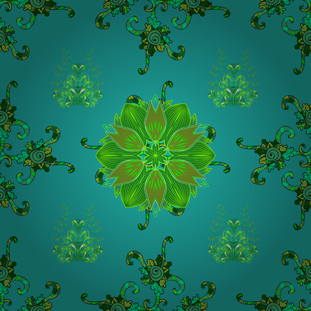Seamless floral pattern with doodles flowers on blue, green and black colors. Vector illustration. Çizim