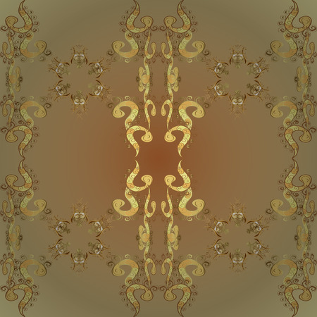Neutral and beige colors with golden elements. Vector golden floral ornament brocade textile and glass pattern. Seamless golden pattern. Gold metal with floral pattern.