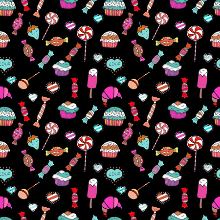 Vector. Seamless cupcake, fairy cake. Cute birthday pattern on white, pink and black. For food poster design. Vectores
