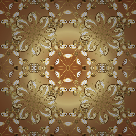 Golden elements on beige and brown colors. Seamless oriental ornament in the style of baroque. Traditional classic vector golden seamless pattern. Çizim