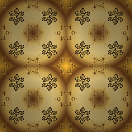 Floral pattern. Golden elements on brown and yellow colors. Stylish graphic pattern. Seamless vector background. Sketch baroque, damask. Çizim