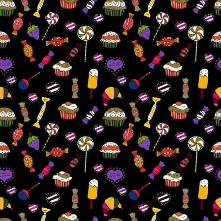 Vector seamless pattern with candy in black, yellow and white. Sweet for textile, cards, web design: delicious realistic seamles background: graphic fantastic candy.