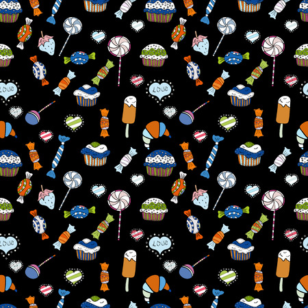 Seamless bright birthday pattern on black, white and blue. Wrapping paper. Cake, cap, cone. Vector illustration.