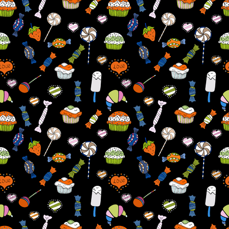 Nice birthday background on orange, white and black. Wrapping paper. Vector illustration. Seamless pattern with cakes.