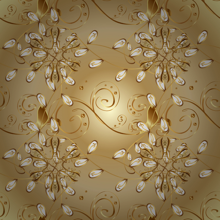 Golden elements on colors. Seamless oriental ornament in the style of baroque. Traditional classic vector golden seamless pattern. Çizim