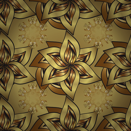 Seamless vintage pattern on colors with golden elements. Christmas, snowflake, new year. Golden seamless pattern on colors with golden elements.