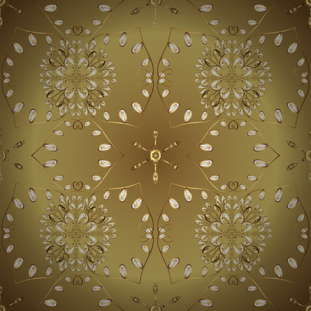 Golden pattern on colors with golden elements. Vector oriental ornament. Ornamental golden pattern.