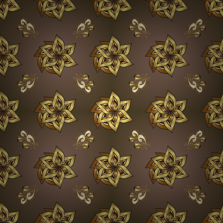 Seamless classic vector brown and gray and golden pattern. Traditional orient ornament. Classic vintage background. Çizim