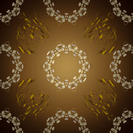 Gold floral ornament in baroque style. Golden element on colors. Antique golden repeatable sketch. Damask seamless repeating pattern.