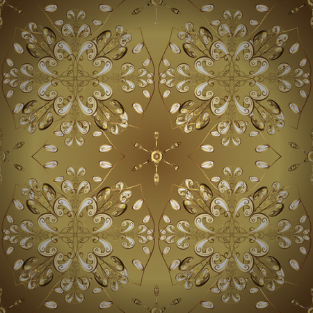 Seamless oriental ornament in the style of baroque. Golden pattern on colors with golden elements. Vector oriental ornament. Traditional classic golden pattern.