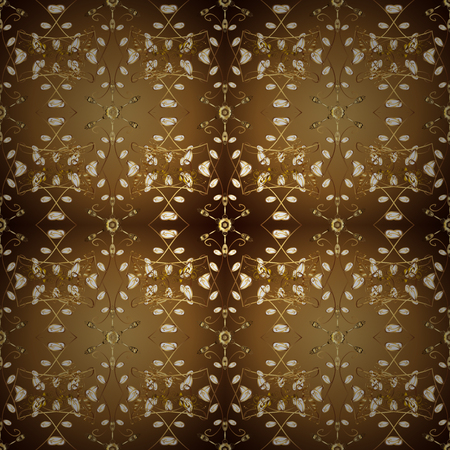 Golden on colors with golden elements. Vector illustration. Vector abstract background with repeating elements. Seamless damask classic golden pattern.