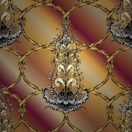 Vector illustration. Vintage ornamental pattern on a beige, brown and red colors with golden elements.