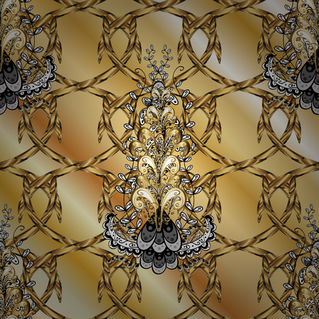 Ornamental pattern on beige, yellow and brown colors with golden elements. Ornamental classic vector golden pattern. Traditional orient ornament, classic vintage background. Çizim