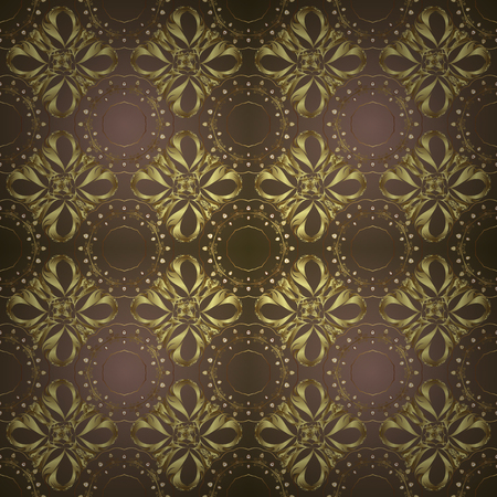 Seamless oriental ornament in the style of baroque. Golden pattern on brown and neutral colors with golden elements. Vector oriental ornament. Traditional classic golden pattern.
