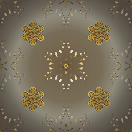 Ornamental floral elements with henna tattoo, golden stickers, mehndi and yoga design, cards and prints. Vector golden mehndi seamless pattern. Pattern on beige and neutral colors.