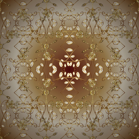 Golden floral seamless pattern. Gold floral ornament in baroque style. Golden element on a beige and brown colors. Damask background. Çizim