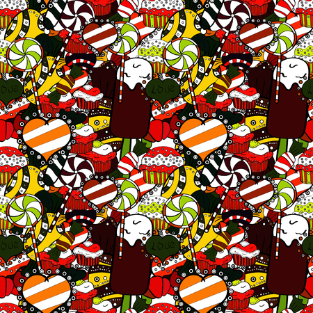 Seamless pattern of sweet candy on brown, black and white colors. Vector illustration.