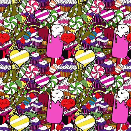 Vector seamless pattern with candy in black, pink and white. Sweet for textile, cards, web design: delicious realistic seamles background: graphic fantastic candy.