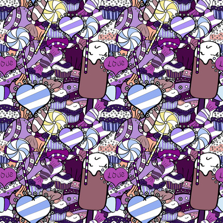 Seamless pattern with watercolor sweets candies, hand drawn isolated on a black, white and violet background. Vector illustration. Çizim