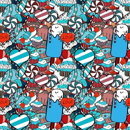 Candy vector doodle. Seamless pattern with watercolor sweets candies. On blue, black and white colors.