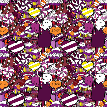 Sweet for textile, cards, web design: delicious realistic seamles background: graphic fantastic candy. Vector seamless pattern with candy in purple, black and white.