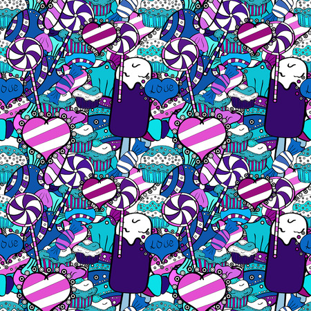 Quirky, abstract hand drawn seamless vector candy pattern. Colorful, retro hand illustrated Halloween treats on a white, blue and violet background.