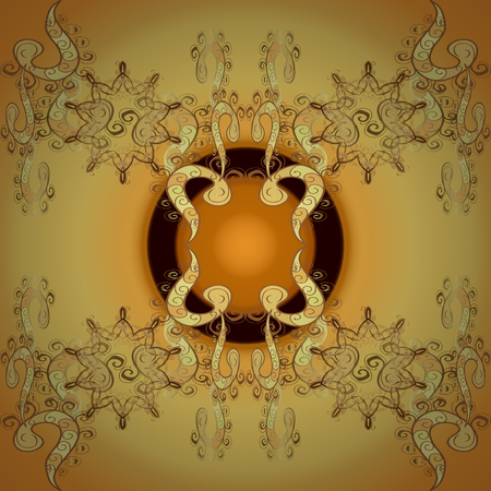 Damask seamless ornament. Traditional vector and golden pattern. Classic oriental pattern over yellow and brown colors.