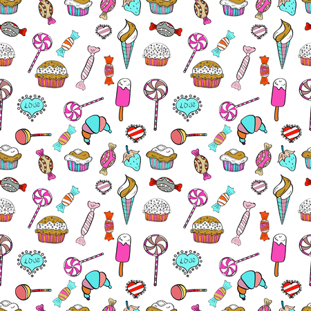 On white, blue and black colors. Candy vector doodle. Seamless pattern with watercolor sweets candies.