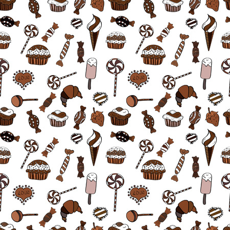 Colorful sugar sprinkle, candy or bakery design on a black, brown and white background. Bright seamless vector confetti party pattern.