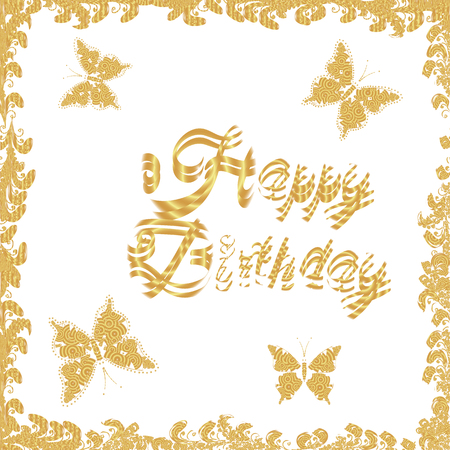 Seamless pattern. Vector. Happy Birthday celebration typography design for greeting card. Poster or banner on white and yellow colors.