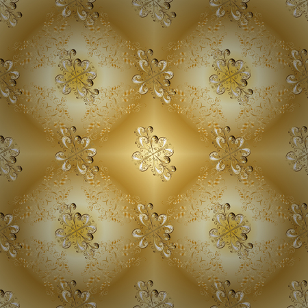 Gold Sketch on texture background. Golden element on beige and yellow colors. Damask seamless repeating background. Gold floral ornament in baroque style.