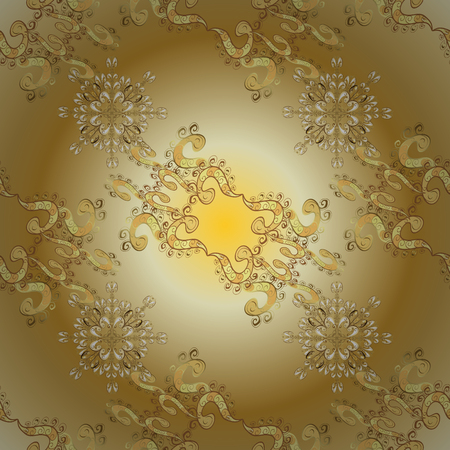 Traditional vector and golden pattern. Damask seamless ornament. Classic oriental pattern over yellow and beige colors.