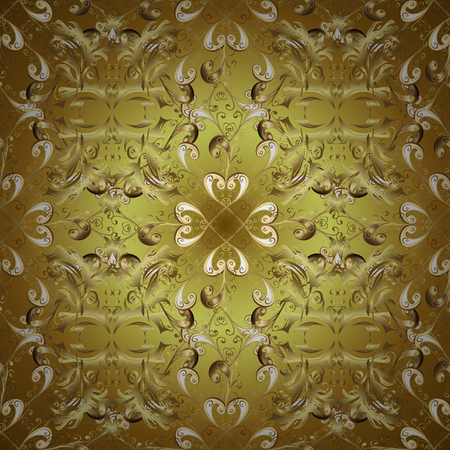 Antique golden repeatable sketch. Golden element on yellow and brown colors. Damask seamless repeating pattern. Gold floral ornament in baroque style.