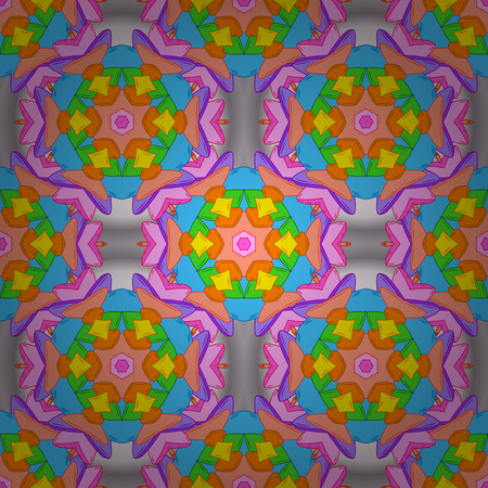 Vector illustration. Colorful pattern. Seamless Flat design with abstract doodles on orange, blue and pink colors background. Ilustração