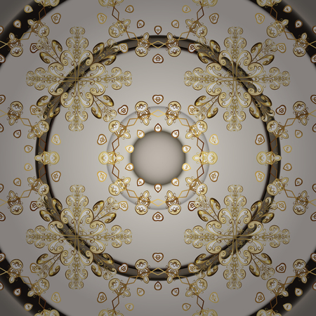 Damask seamless pattern for design. Vector seamless pattern on beige and gray colors with golden elements.