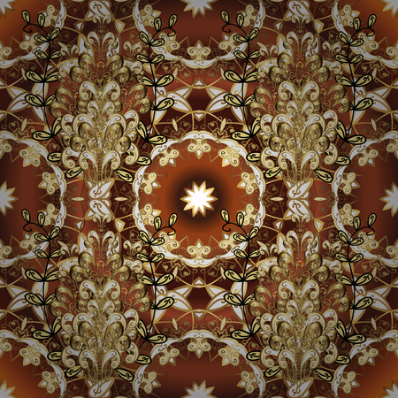 Golden pattern on brown and beige colors with golden elements. Seamless golden pattern. Vector oriental ornament.