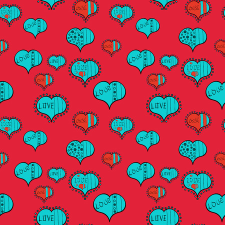Valentine:s day print. Vintage design, pop art style. Seamless of retro comic with LOVE expression text. Vector illustration. Cute blue, black and red colors elements. Ilustração
