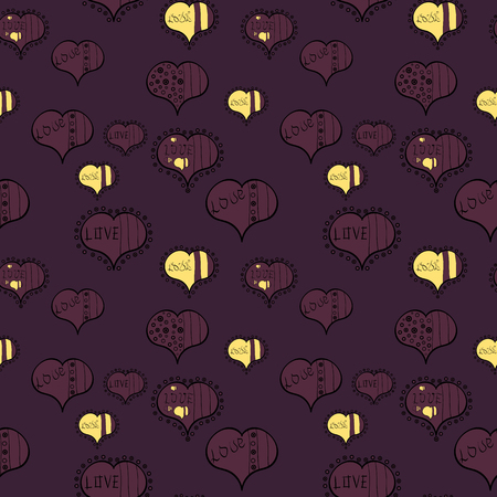 Wrapping paper. Heart Doodle. Valentine:s day. Vector. Drawing in sketch style on brown, black and purple colors. Abstract seamless love pattern.