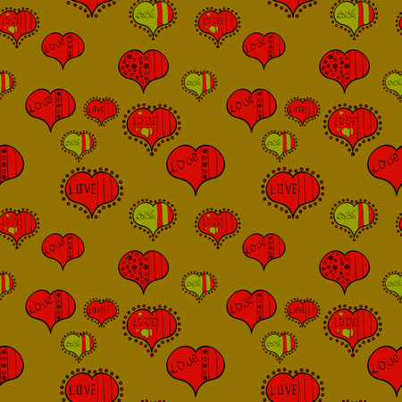 Vector illustration. To print on tissue paper, to web design. Sketch designed loves heart. Love design with different elements. Cute and nice little hearts in seamless pattern.