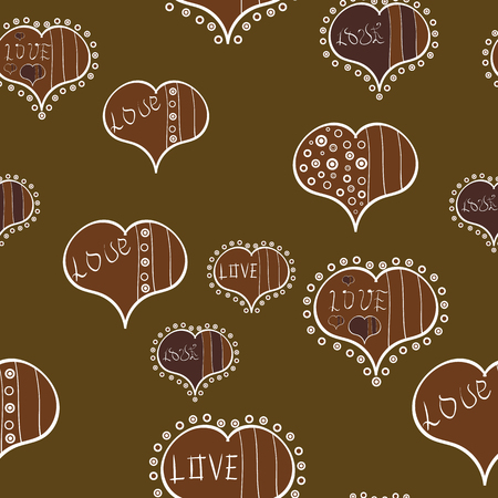 Seamless Love pattern with hand drawn doodle hearts. Valentines Day design. Elements on brown, white and beige colors.
