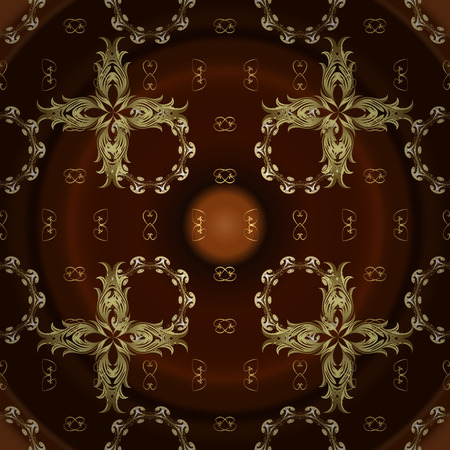 Vector golden pattern on neutral and brown colors. Symbol of winter, Merry Christmas holiday, Happy New Year 2019. Golden snowflake simple seamless pattern. Abstract sketch, wrapping decoration.