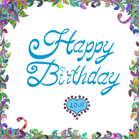 Happy Birthday Editing Text Vector Illustration White Green And Blue Colors Banner