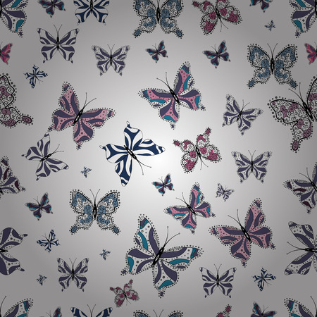 Colorful folk vector seamless pattern with butterflies. Colored butterflies on a white, blue and black background. Suitable for packaging, paper, fabric. Vektoros illusztráció