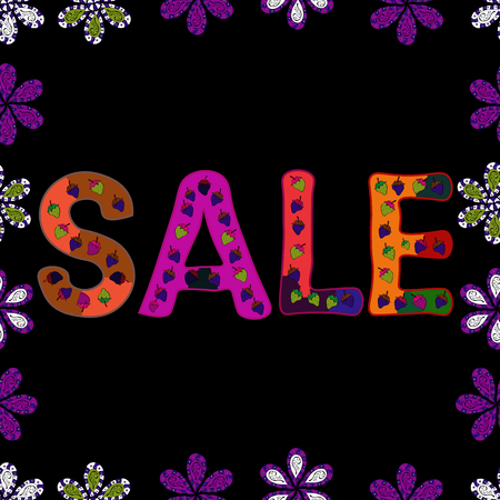 Picture in blue, purple and black colors. Cute sale banner. Seamless. Vector illustration. Lettering.