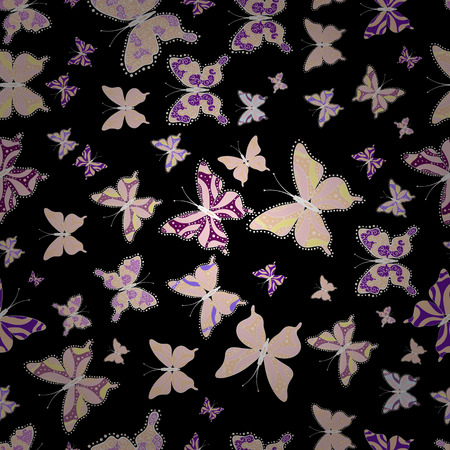 Bright seamless pattern with butterflies. Picture on neutral, beige and black colors. Fashion Fabric Design. Vector illustration.