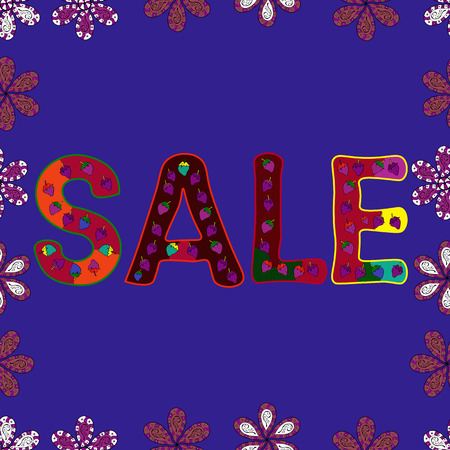 Vector Advertising pictures in purple, red and violet colors. Hand Drawn Text on cute Background. Seamless. Hot Summer Sale Banner Design.