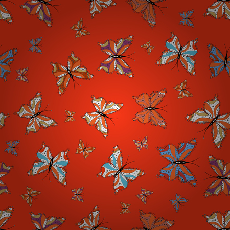 Seamless. Pattern for fabric, textile, print and invitation. Vector. Butterflies pattern. Illustration on orange, red and white background.